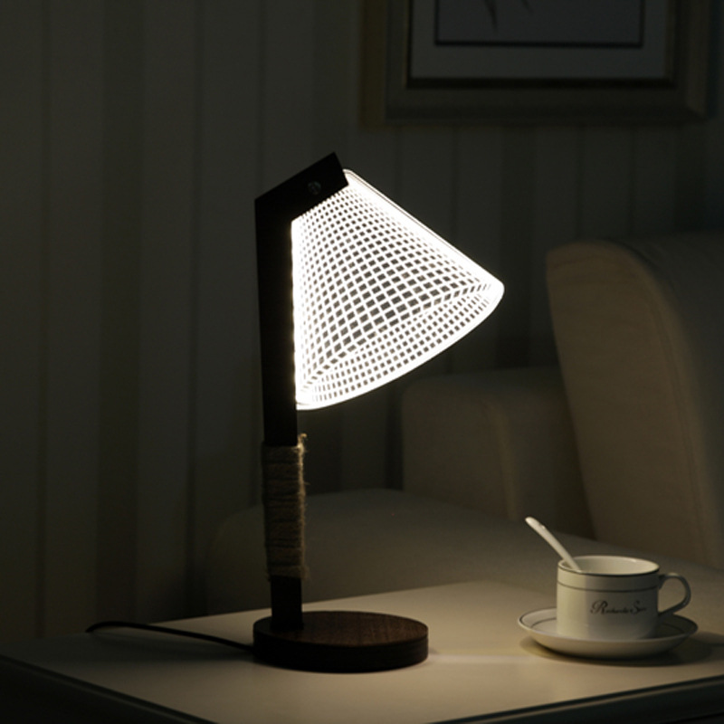 Artpad Nordic Solid Wood LED 3D Lamp Eye Care Decorative Creative Gift Night Lighting USB Table for Bedroom livingroom