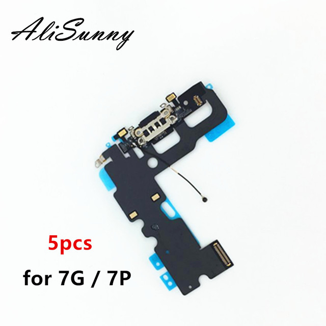 AliSunny 5pcs טעינת Flex כבל עבור iPhone 7 בתוספת 4.7 7G 7 P USB מזח מחבר מטען חלפים נמל