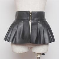 women high street 2017 new fashion style zippered up faux leather ruffled wide belt for woman ladies peplum black PU dress belts