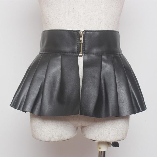 Mulheres high street 2016 novo estilo de moda com zíper up falso couro babados cinto largo para mulher ladies peplum vestido preto PU cintos