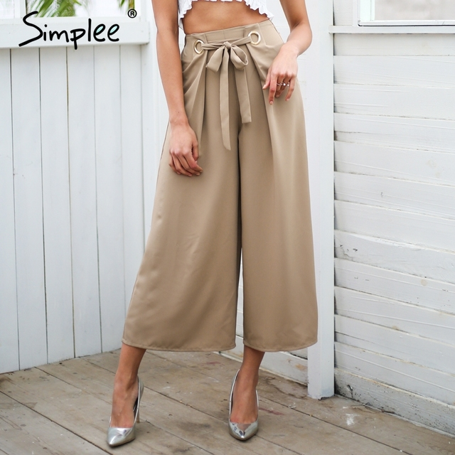 3851c91d5c Simplee Metal ring tie up wide leg pants women capris Chic streetwear  casual pants 2018 Spring summer beach elastic trousers