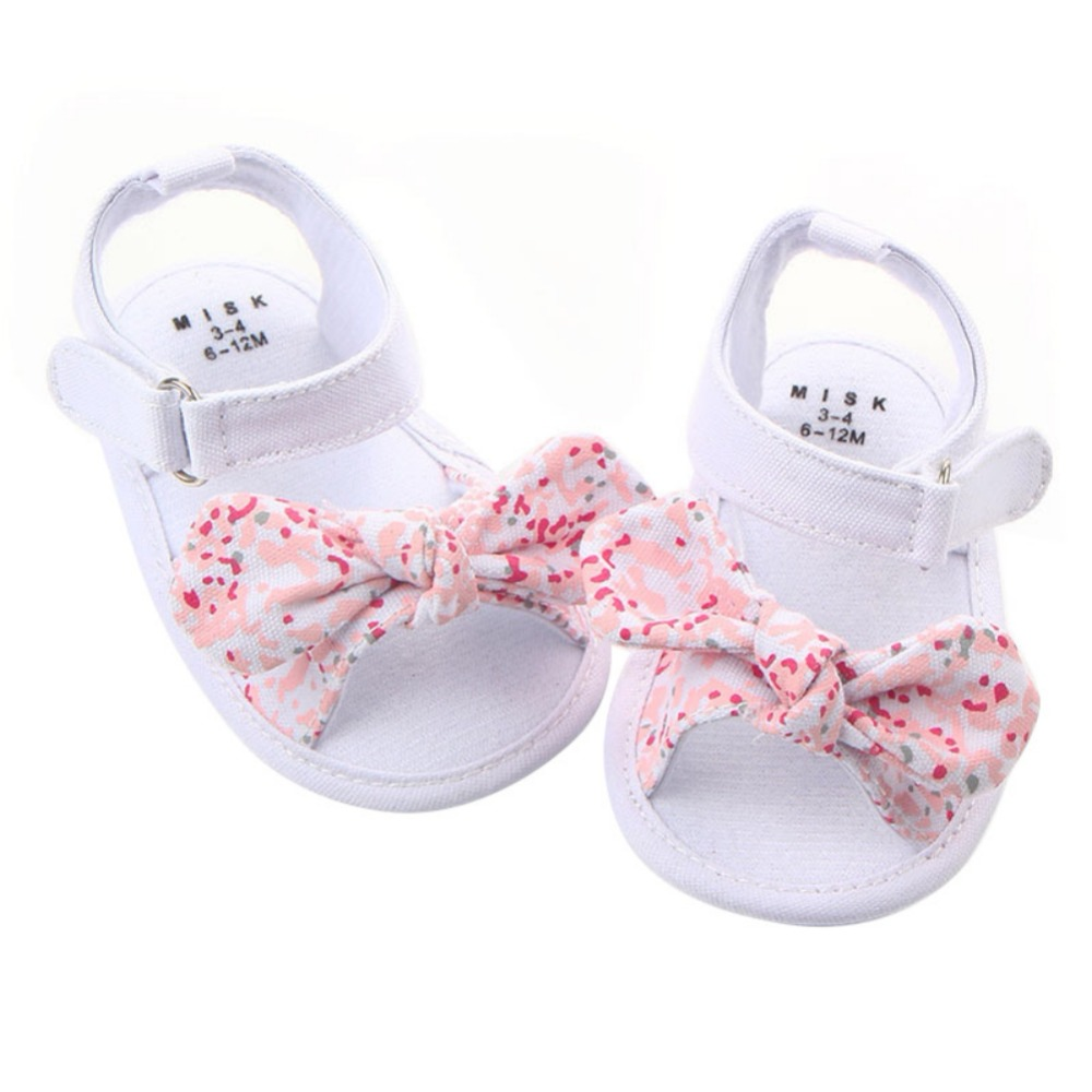 2019 Toddler Newborn Baby Crib Shoes Bow Embroidery Princess Baby Soft Sole Anti-Slip Prewalker For Baby Girls
