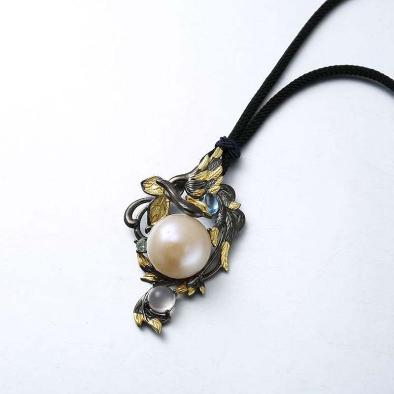 Sterling 925 argent 16mm grande perle pendentif rose quartz vigne fleurs naturel Baroque perle bleu topaze pendentifs argent bijoux