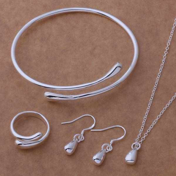 Fashion Jewelry Set Silver Plated Water Drop Necklace&Earring&Ring&Bangle Set AT087-089