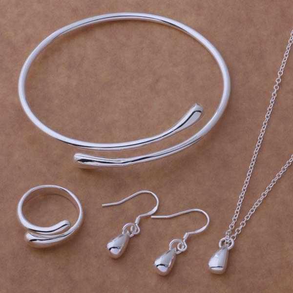 แฟชั่นชุดเครื่องประดับ Silver Plated Water DROP สร้อยคอและต่างหูและแหวนและกำไลชุด AT087-089