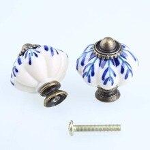 33mm white and blue porcelain drawer cabinet knobs pulls antique bronze dresser kitchen cabinet door handles ceramic knobs