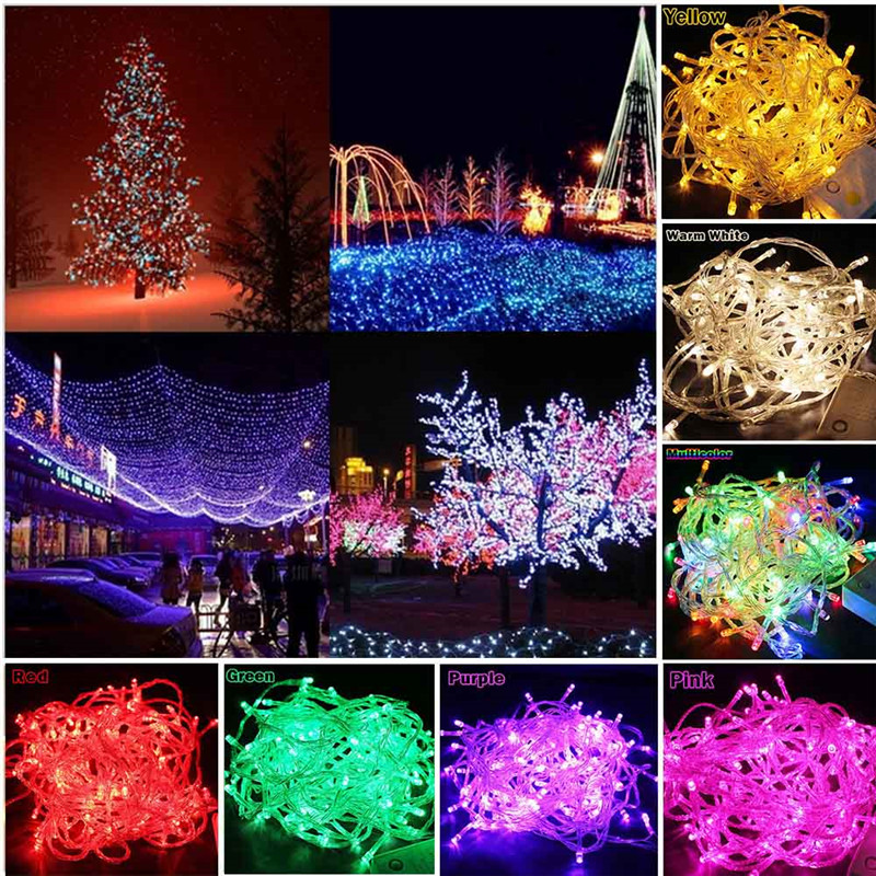 Outdoor Led String Lights 10M 100Leds Waterproof Led Holiday Strip Lamp Beads Wedding Christmas Tree New Year Garden Decoration