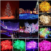 Outdoor Led String Lights 10M 100Leds Waterproof Led Holiday Strip Lamp Beads Wedding Christmas tree New Year Garden Decoration(China)