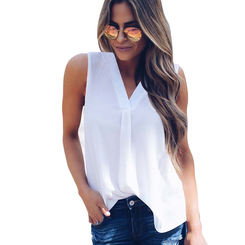 Plus Size Summer Tops For Women 2019 Female Chiffon   Shirt   Sleeveless Sexy V-Neck Womens Tops And   Blouses   Solid Office Lady   Shirt