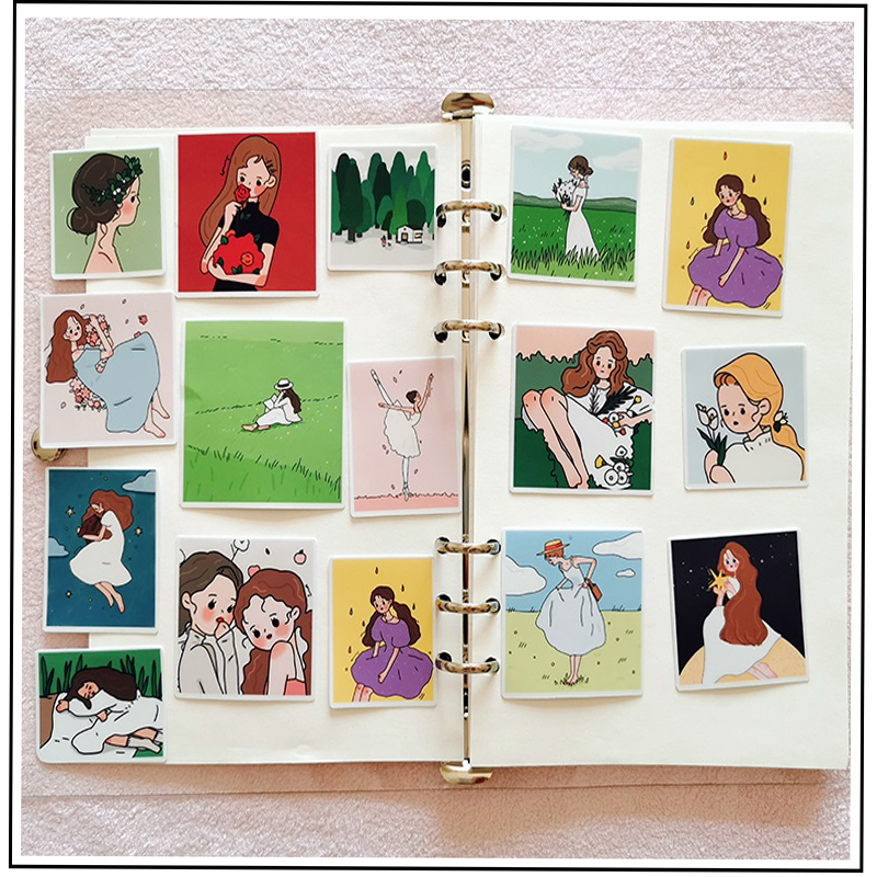 17PCS Cartoon Girl Stickers DIY Scrapbooking Album Journal Diary Happy Planner Gift Decoration Stickers