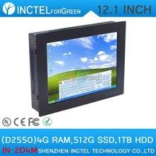 2 мм ультра-тонкий СВЕТОДИОДНЫЙ Панель PC 4:3 с 12 «Все-в-одном Промышленного класса 4-проводной резистивный сенсорный экран D2550 1.86 ГГц