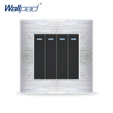 Venta caliente 4 Gang 1 Way Interruptores Wallpad Lujo Luz de Interruptor de Pared Panel de Interruptores de Balancín de Metal Satinado Interrupteur
