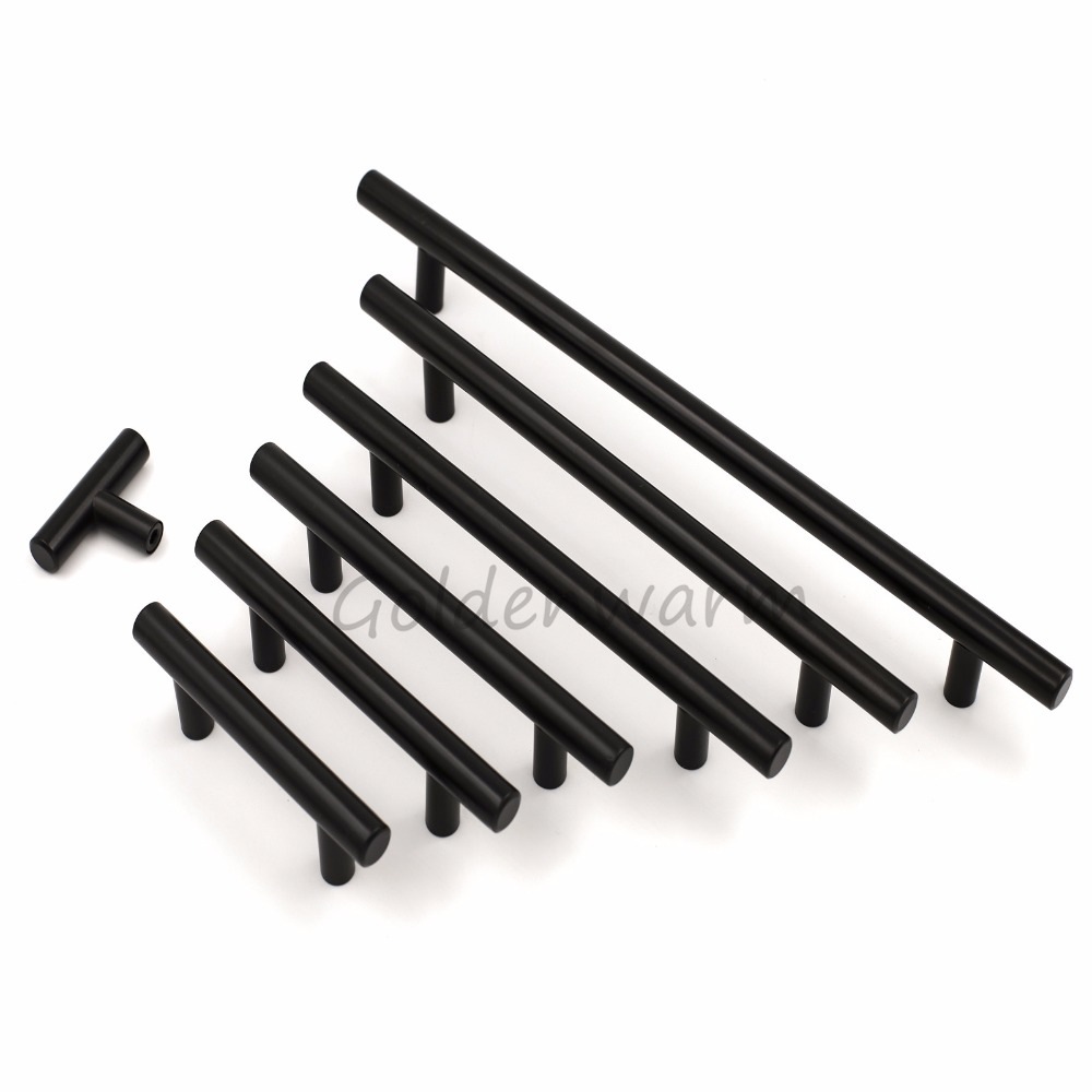 Black Dresser Drawer Pulls Stainless Steel Bathroom Door Knobs T Bar Kitchen Cupboard Cabinet Handles Furniture Hardware 1Pack 4pcs naierdi c serie hinge stainless steel door hydraulic hinges damper buffer soft close for cabinet kitchen furniture hardware