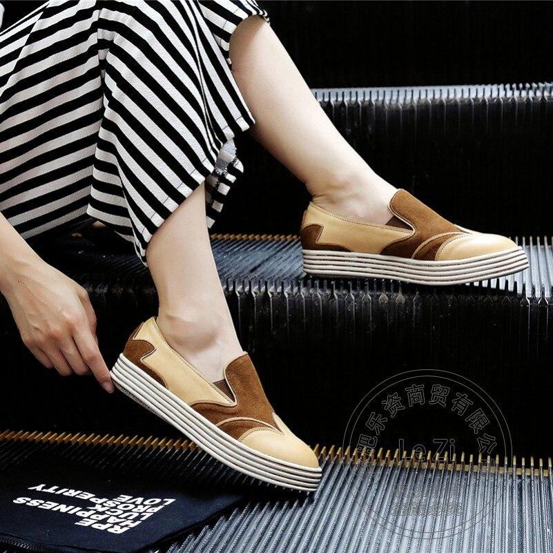 ФОТО Brand Shoes Women Heavy-bottomed Thin Women Shoes Flat Pu Modern Pure Color Funky Woman Shoes Models Nubuck Leather Plain