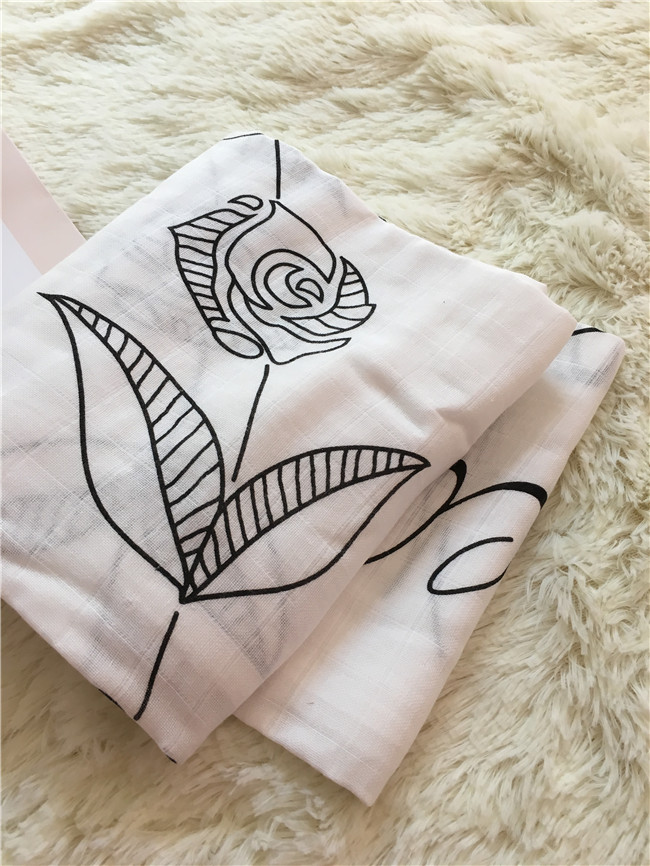 ROSE Marquisette Swaddle Blanket 48x48 ,Black Rose design , crib fiited sheets, change pad cover,travel blanket