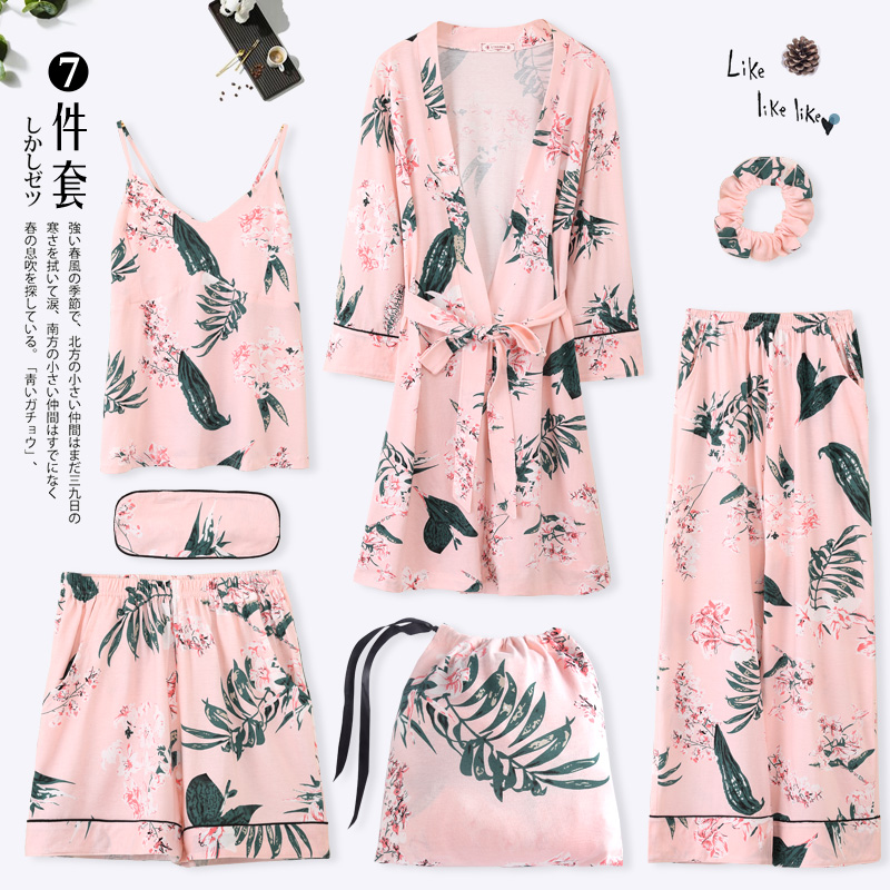 Sweet Fresh Floral 7 Pieces   Pajama     Set   2019 New Fashion Spring Summer Robe Pants Shorts Robes Pyjama Femme Sleepwear Home Wear