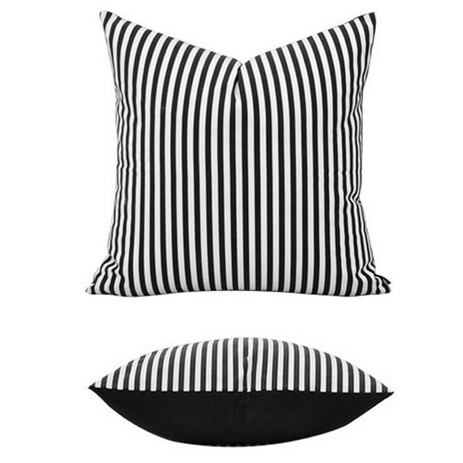 New Black White 18 18 Stripe 100 Cotton Home Decor Throw Pillow