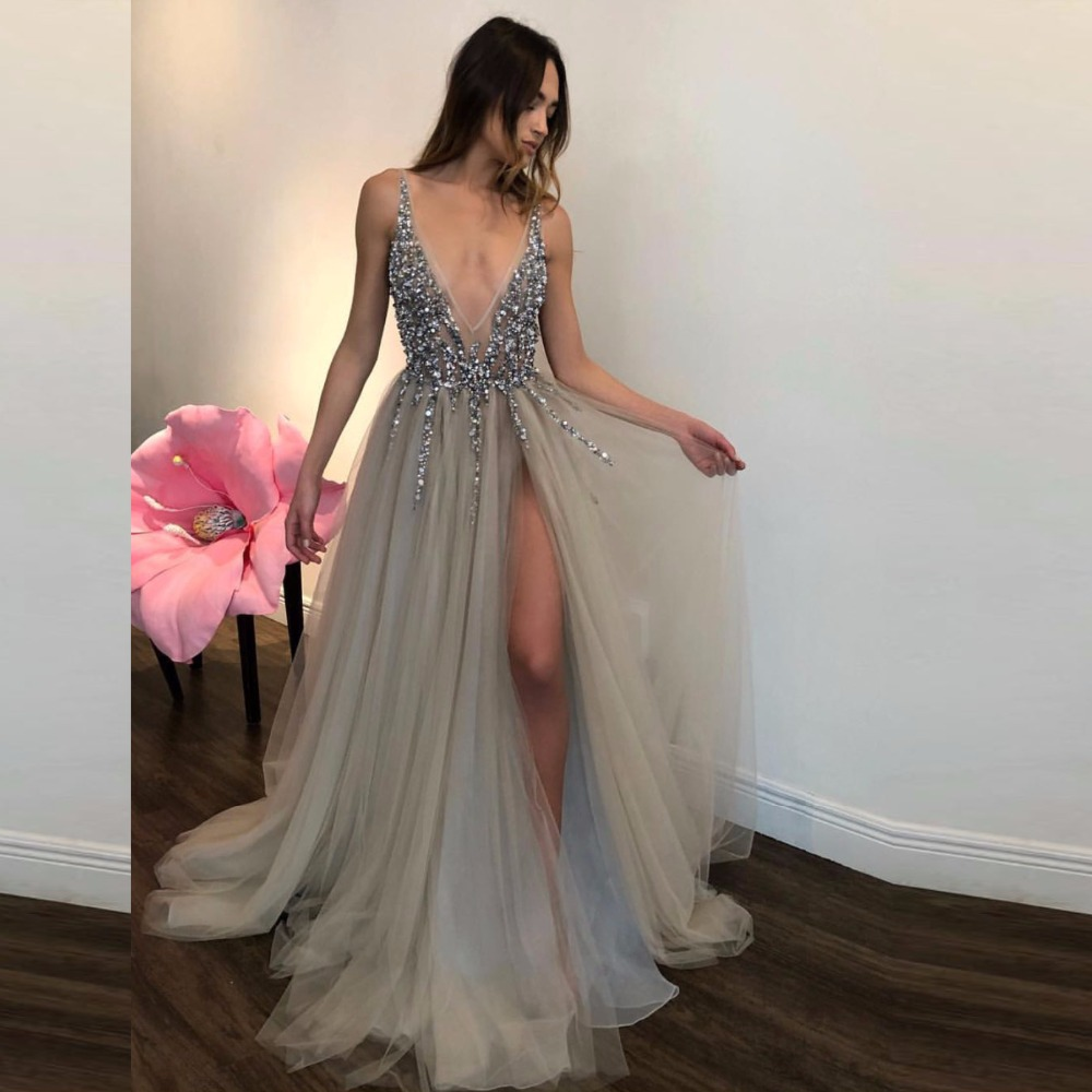 Silver Robe De Soiree 2019 A-line Deep V-neck Tulle Beaded Crystals Slit Sexy Long   Prom     Dresses     Prom   Gown Evening   Dresses