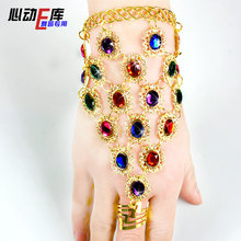 Colorful gem bracelet finger one piece chain bracelet dance jewelry