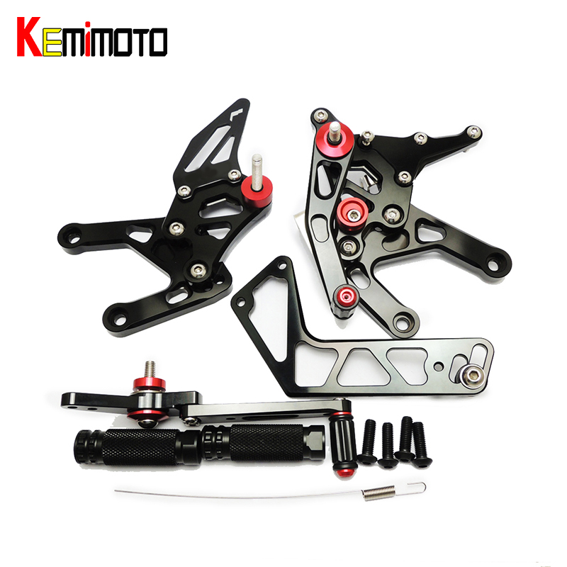 KEMiMOTO CNC Adjustable Rearset YZF R1 Foot Rest Pegs For Yamaha YZF R1 2015 R1 15