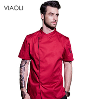 Viaoli Hotel Chef Food Services Cooking Clothes Kitchen Uniform Jackets Overalls Hotel Uniforms Clothing long Sleeve Men 008