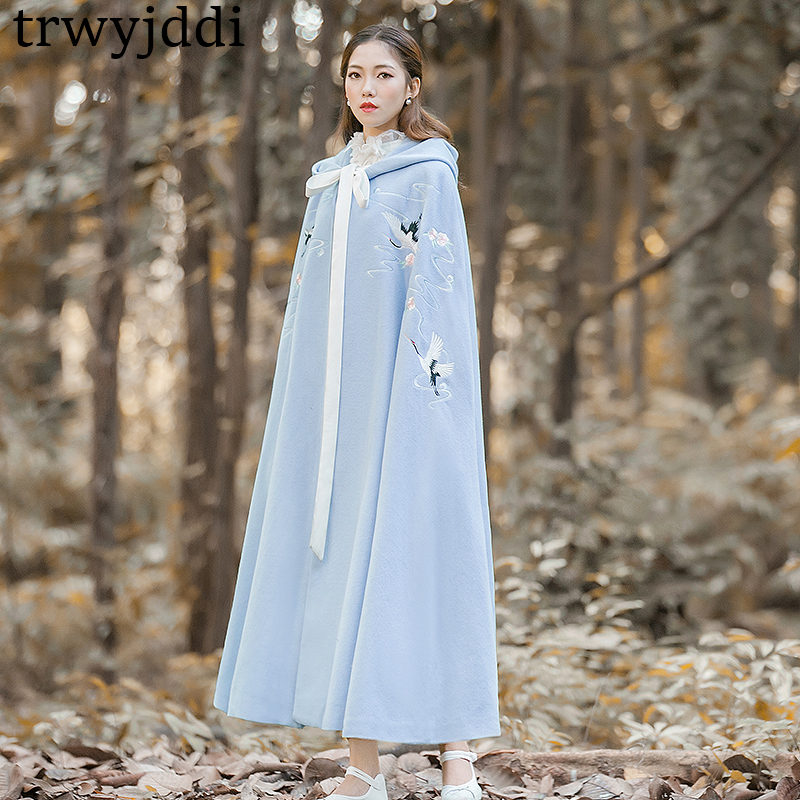 2018 fashion Plus Size Spring Autumn Women's Cloak Shawls Coats Casual Hooded Embroidery Hanfu Cardigan   Trench   Coat A1288