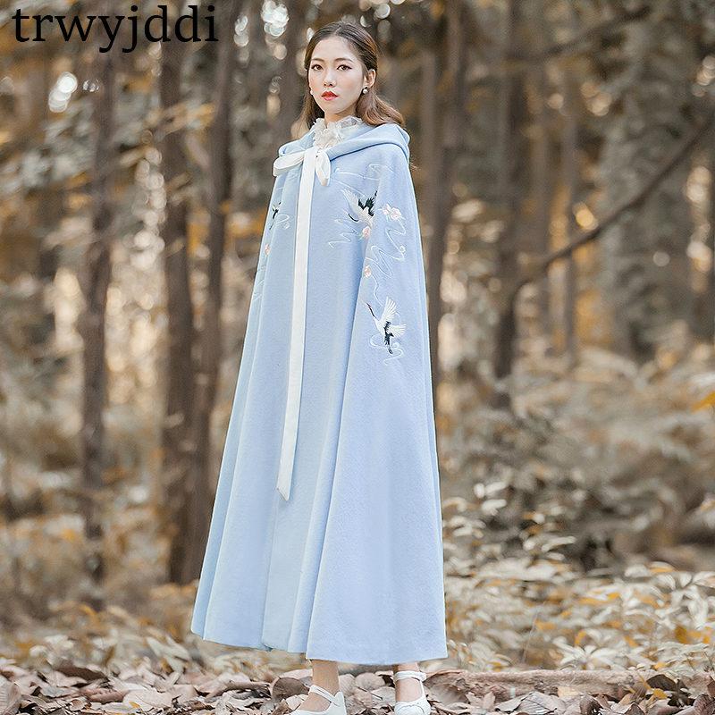 2019 패션 플러스 크기 봄 가을 여성의 망토 shawls 코트 캐주얼 후드 자 수 hanfu 카디 건 트렌치 코트 a1288-에서트렌치부터 여성 의류 의  그룹 1