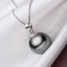 BIG 90% OFF!! original Flawless Black Pearl Pendant Necklace With Solid 925 Silver Chain Necklace Wedding Jewelry for Women N001