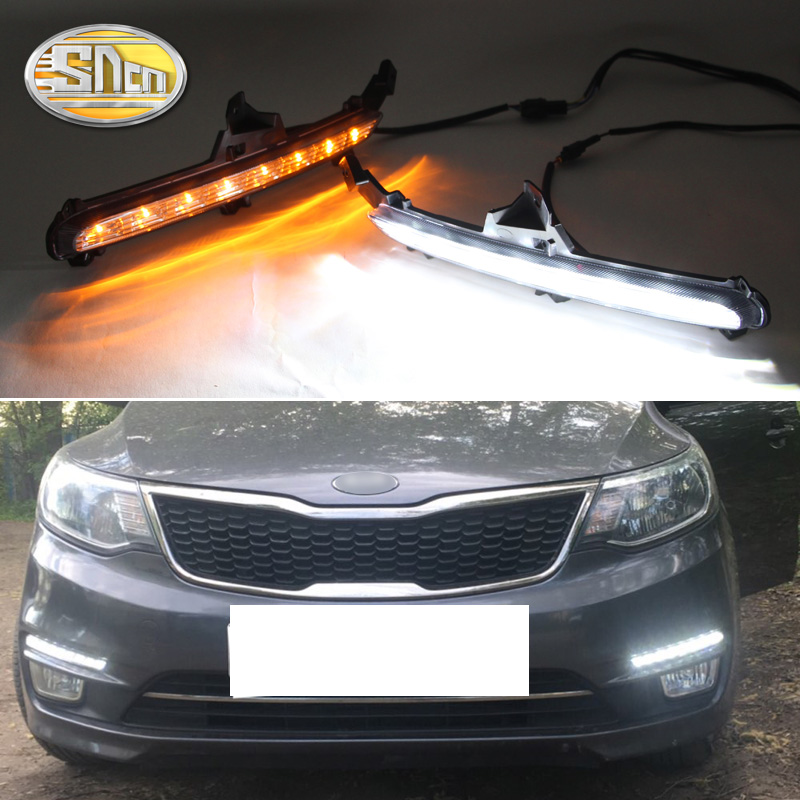 For Kia Rio K2 2015 2016 Yellow Turning Signal Style Relay Waterproof ABS Car DRL 12V LED Daytime Running Light Daylight SNCN image