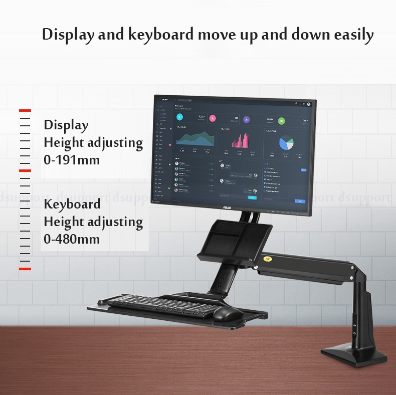 Desktop Sit Stand Workstation Long Arm Ergonomic 22-35 inch Monitor Holder with Keyboard Tray Gas Spring Arm FC35