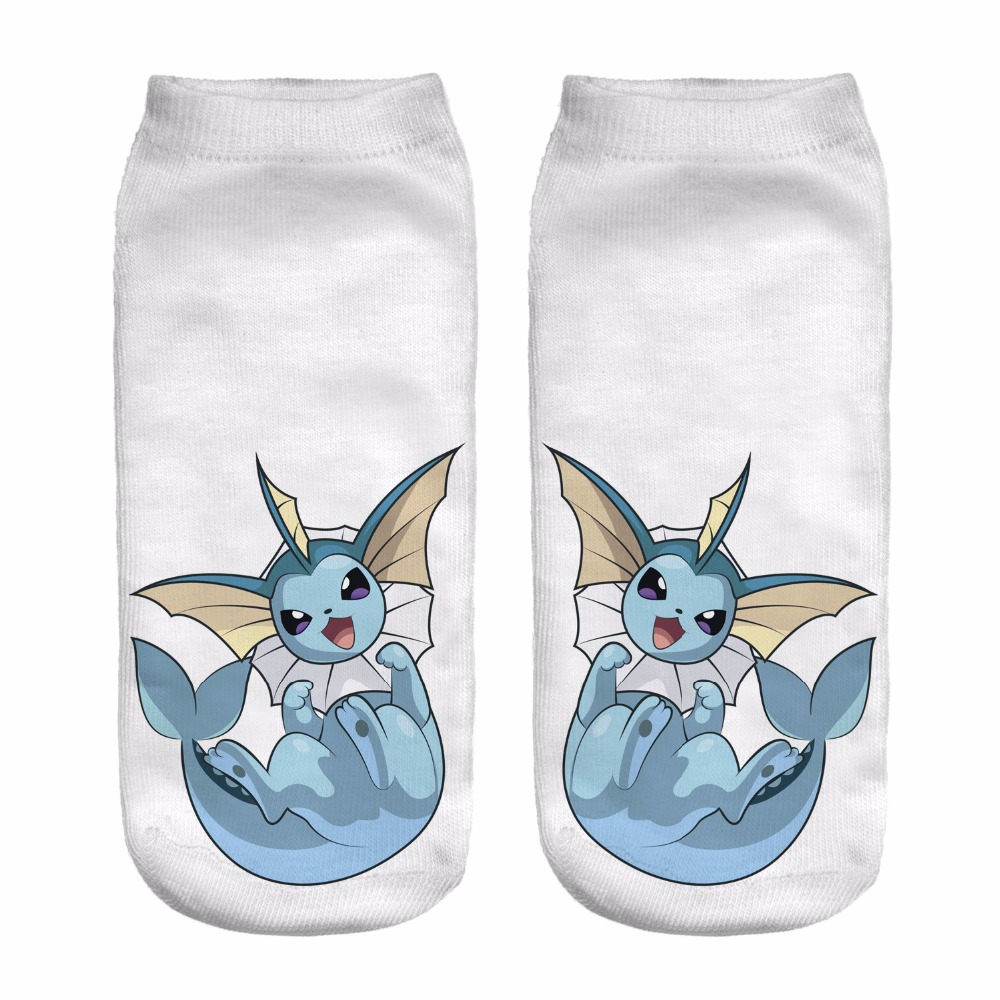 Women Socks 3D Print Animals young charizard White Wholesale Short Cute Low Cut Ankle Lady Girl Funny Socks Pokemon Go