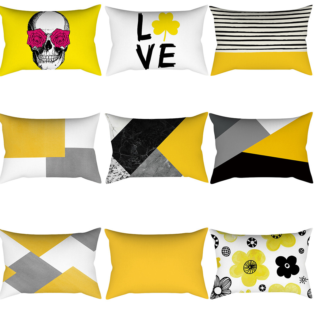 Geometric Cushion Covers Yellow And Gray Diamond Wave Pillow Case For Home Chair Sofa Car Office Decoration Square Pillowcases
