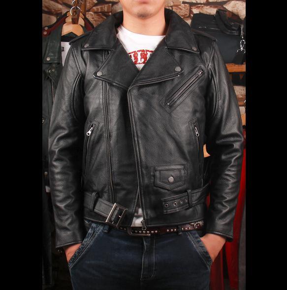 Free shipping.plus size Brand classic men leather Jacket men's genuine Leather biker jacket.cowskin slim coat for