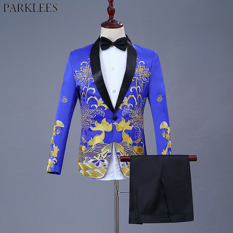 Royal Blue Gold Fish Embroidery Dress Suit Men One Button Shawl Lapel 3pcs Suits Mens Stage Prom Party Wedding Terno Masculino