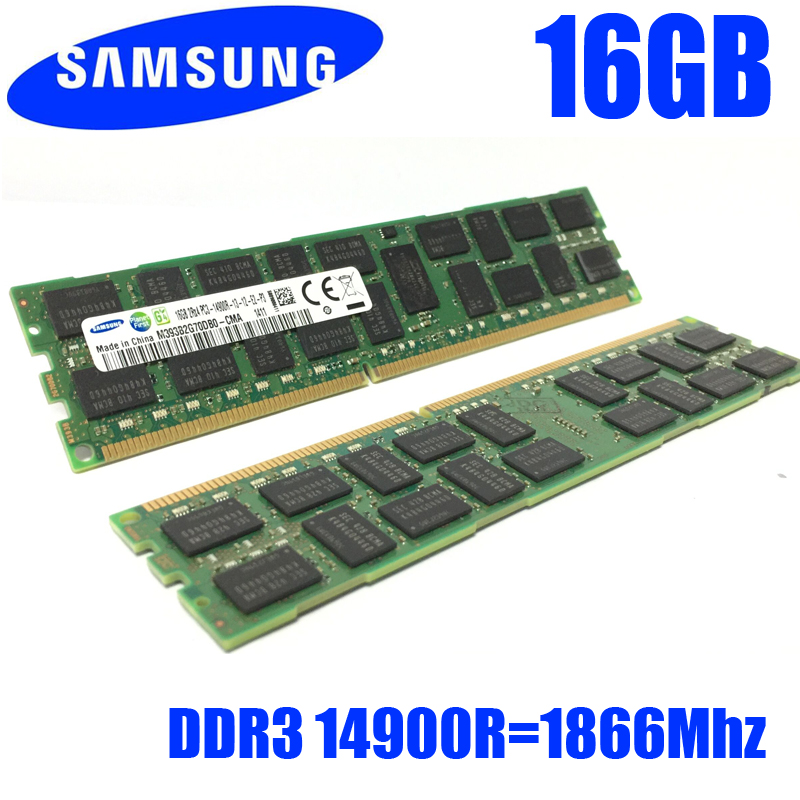 Free shipping For Samsung 16GB PC3 or PC3L 14900R DDR3 1866MHz 16G REG ECC server memory RAM 100% normal work