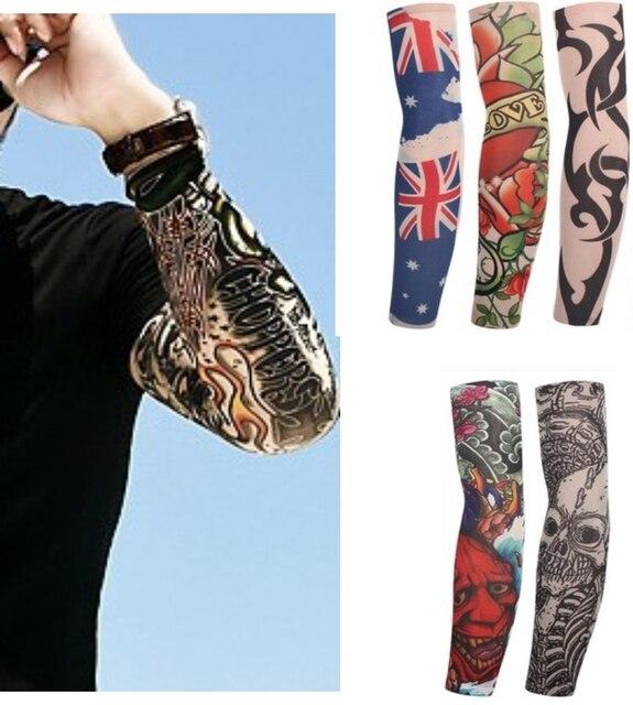 1Pc Mixed Nylon Elastic Fake Temporary 3D Tattoo Sleeve Designs Body Arm Leg Stockings Tattsoo For Cool Men Women