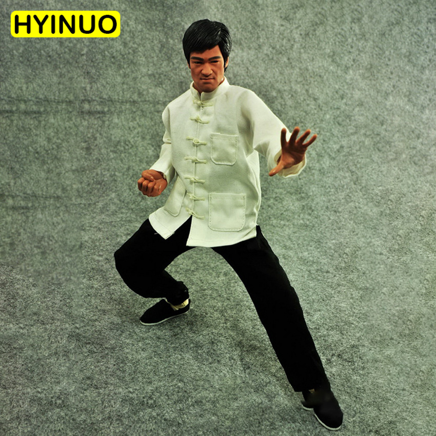 1/6 Scale Bruce Lee Chinese Kongfu Tang Suit White shirt Black pants Clothes Clothing Suit Set Model for 12Action Figure Body1/6 Scale Bruce Lee Chinese Kongfu Tang Suit White shirt Black pants Clothes Clothing Suit Set Model for 12Action Figure Body