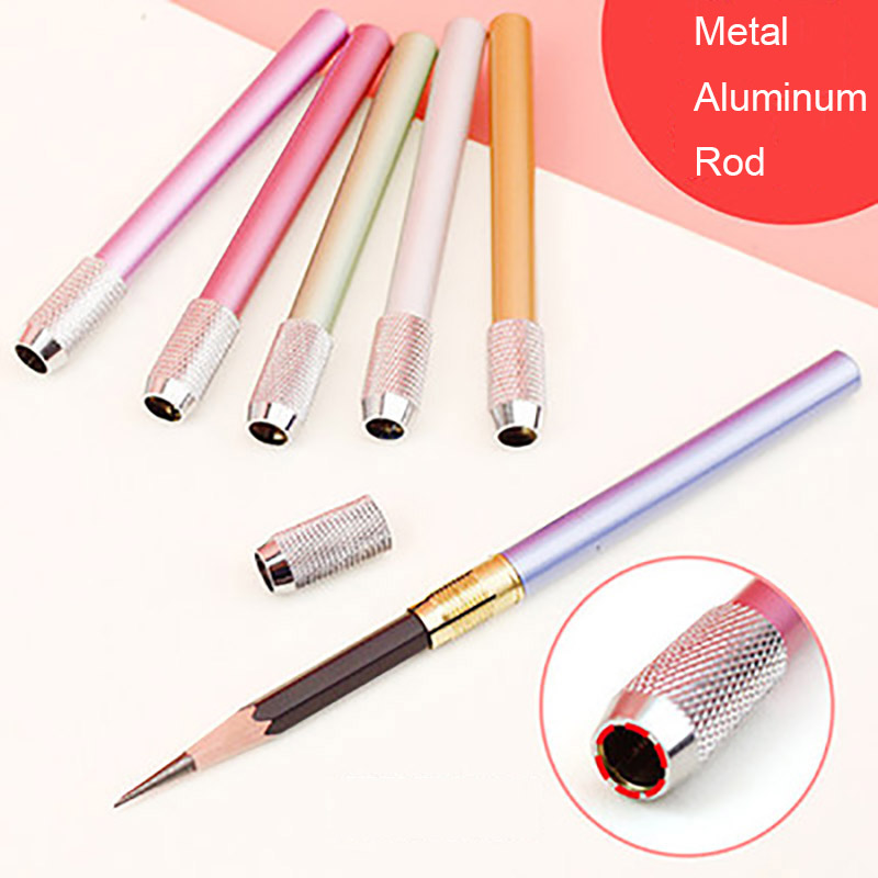 1pcs luxury Metal Pencil Lengthened Extender Stationery for school Art Supplies office school supplies Pens Pen Case Clip in Standard Pencils from Office School Supplies