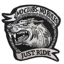 NO CLUB NO RULES Patch Embroidered Applique Sewing Label punk biker Patches Clothes Stickers Apparel Accessories Badge(China)
