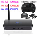 X92 S912 Amlogic Caja de la TV Android 6.0 octa-core 2.4 GHz/5.8 GHz WiFi HD 2.0a con USB Ranura Para Tarjeta SD 2.0 Smart TV Box 2G 3G 16G 32 GB