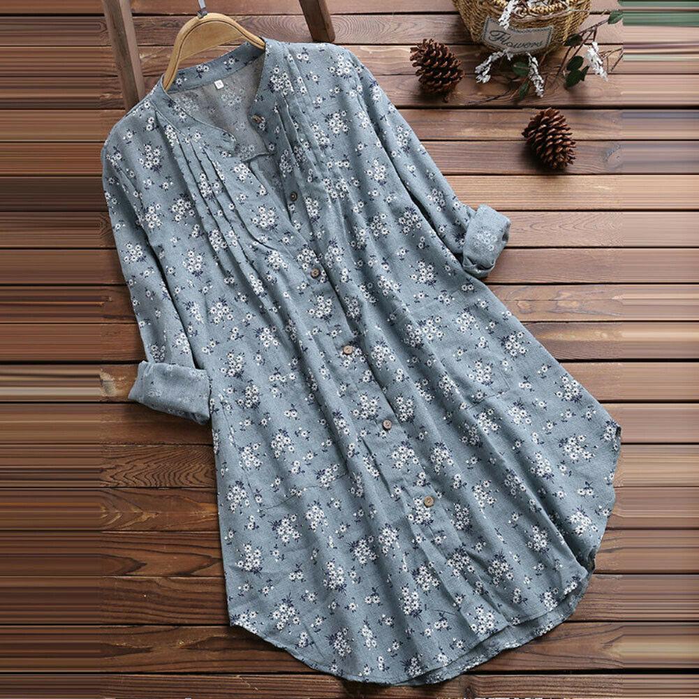 Plus Size Boho Shirts Women Long Sleeve Floral Print Kaftan Baggy Long Blouse Tops Beach Casual Tunic Shirt 3XL