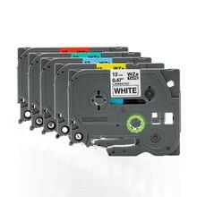 FGHGF ใช้ได้กับ brothers เครื่องพิมพ์ PT E100 ฉลากริบบิ้น 12 มม. 9 18 24 36 PT E100B D210 การพิมพ์ป้ายกระดาษริบบิ้น