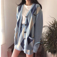 korea vintage knitted sets sweater cardigans plaid skirt suit women suit 2 piece sets long sleeve sweater jumper set N885T