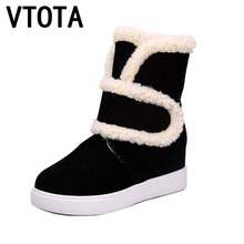 VTOTA Schnee Stiefel Frauen Winterstiefel 2017 Keile Ferse Schuhe frau Botas Plattform Schwarz Rosa Martin Stiefel Freizeitschuhe Frau D46
