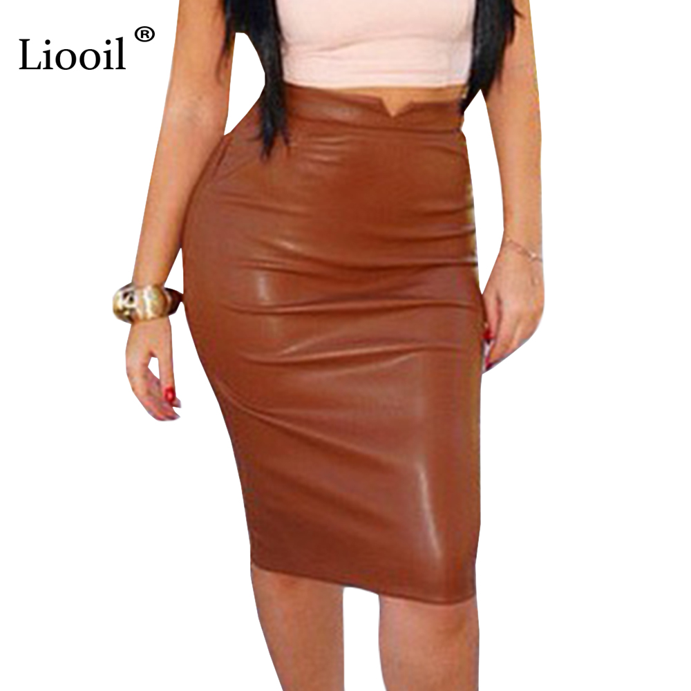 Liooil Women PU Leather Skirt High Waist Skinny Spring Autumn Pencil Skirt Elegant Sexy Party Black Blue Women Skirt Office Wear