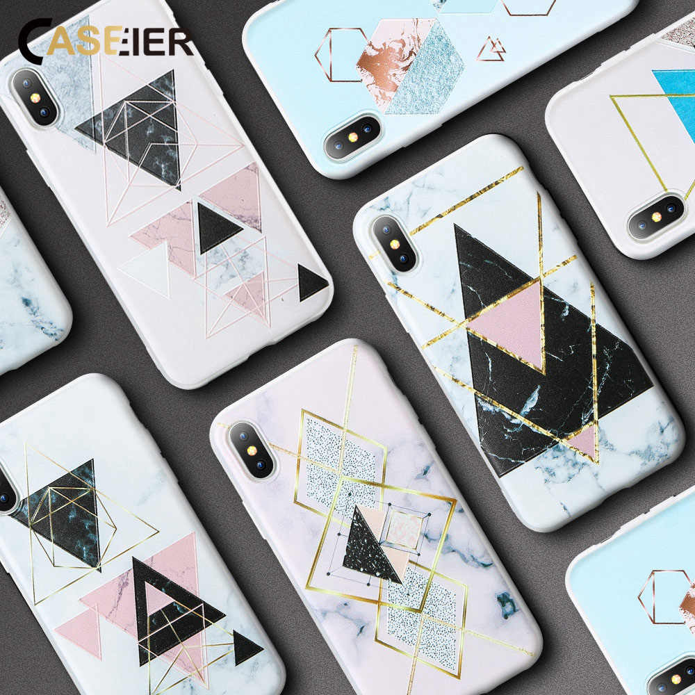 CASEIER Silicone Case For Samsung Galaxy S9 S8 Plus A7 2018 Note 8 9 Marble Geometric Case For Samsung Galaxy A7 J3 J5 2018 2017