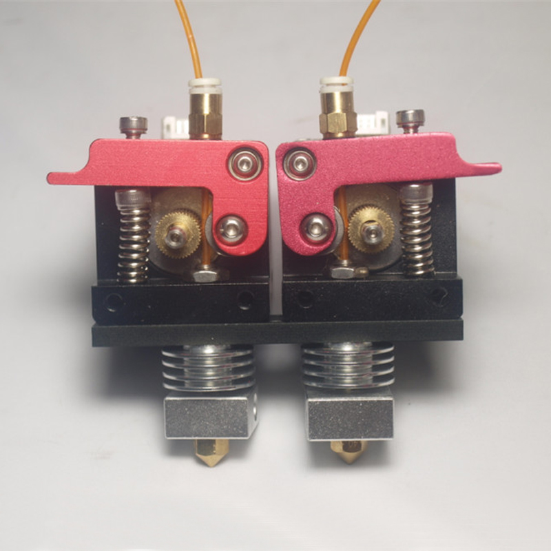 New 3D printer dual nozzles nearly direct extrusion extruder 1.75mm filament with motor Compatible with Reprap makerbot xinkebot 3d printer orca2 cygnus dual extruder high resolution big impressora 3d with free filament