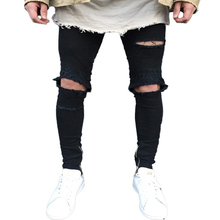 98d90ffe6cac09 ... QoolXCWear new Jeans Hole Jogger Skinny Jeans Men Biker Jeans Pencil  Pant Mens Zipper Ripped Jeans ...