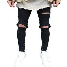 QoolXCWear new Jeans Hole Jogger Skinny Jeans Men Biker Jeans Pencil Pant Mens Zipper Ripped Jeans  Men