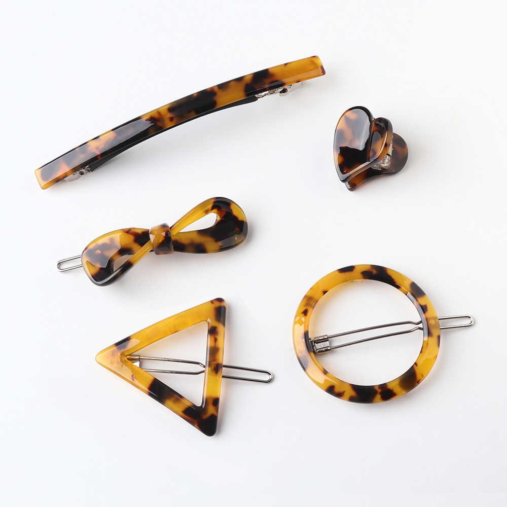 Moda japonia styl akrylowe spinki do włosów geometryczne okrągłe trójkąt spinki do włosów Leopard w kształcie serca kobiety Barrettes spinki do włosów biżuteria